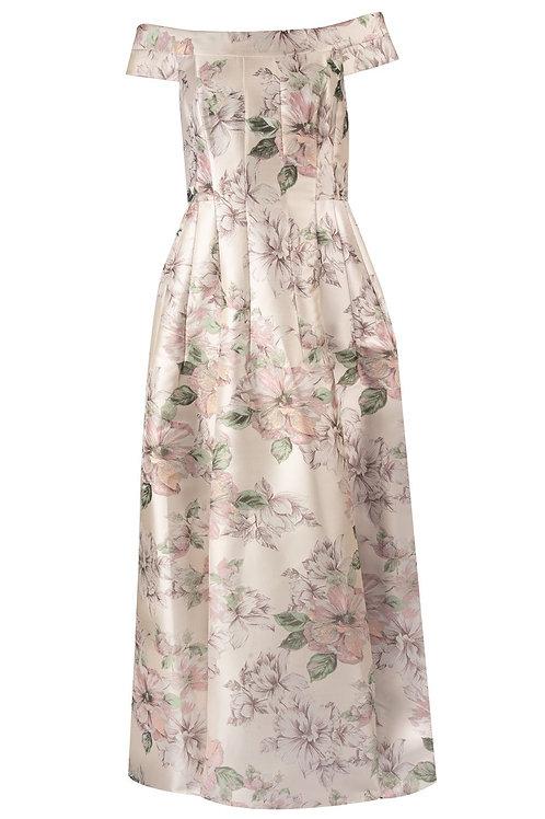 Eliza J Floral Print Off the Shoulder Evening Dress