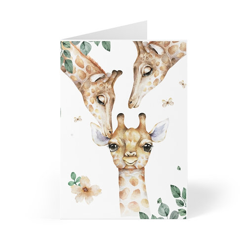 Giraffe Family Greeting Cards (8 pcs)