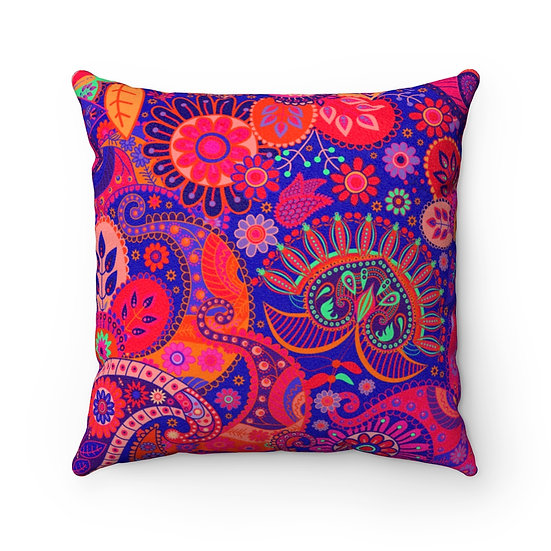 Happy Paisly Pinks Faux Suede Square Pillow