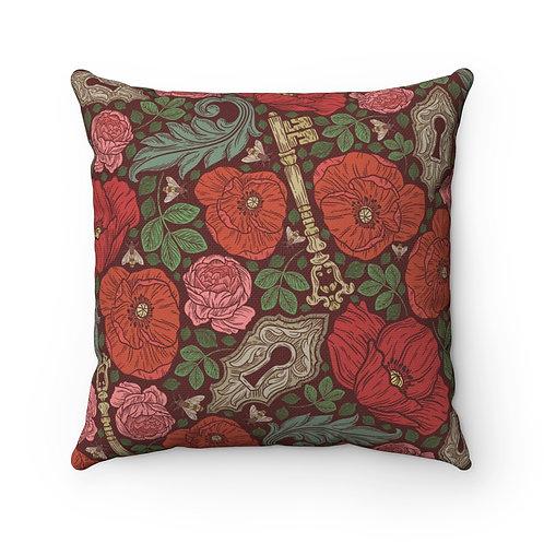 Lovely English Garden Spun Polyester Square Pillow