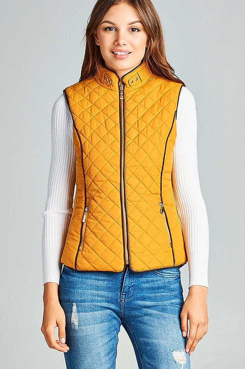 Mustard - Faux Shearling Quilted Vest