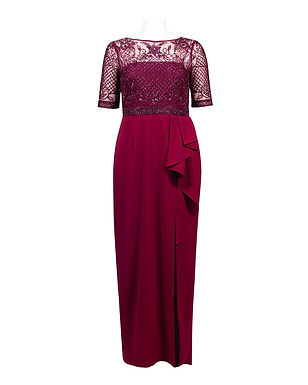Adrianna Papell Crepe Mesh Beaded Evening Gown (Petite)