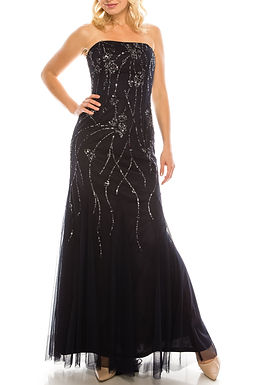 Adrianna Papell Navy Sequined Strapless Evening Gown