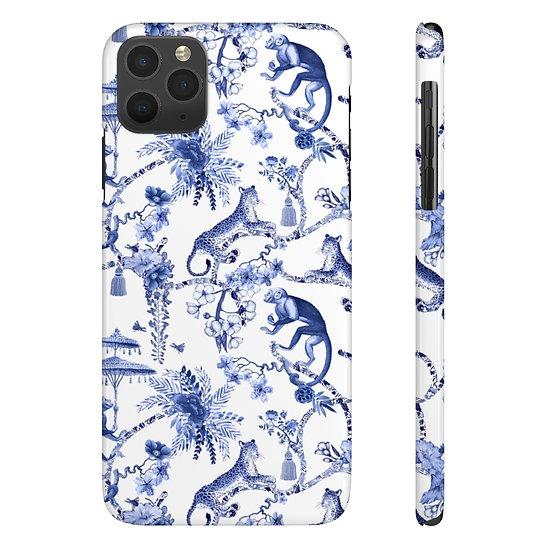 Jungle Blue Toile Case Mate Slim Phone Cases