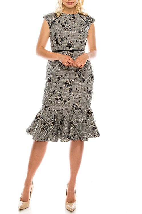 Maggy London Blue Neutral Houndstooth Printed Floral Jacquard Sheath