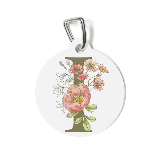 Personalized Floral Pet Tag - I