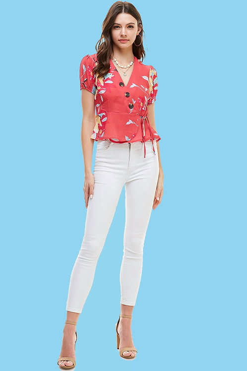Floral Print Button Detail Surplice With Puff Sleeve