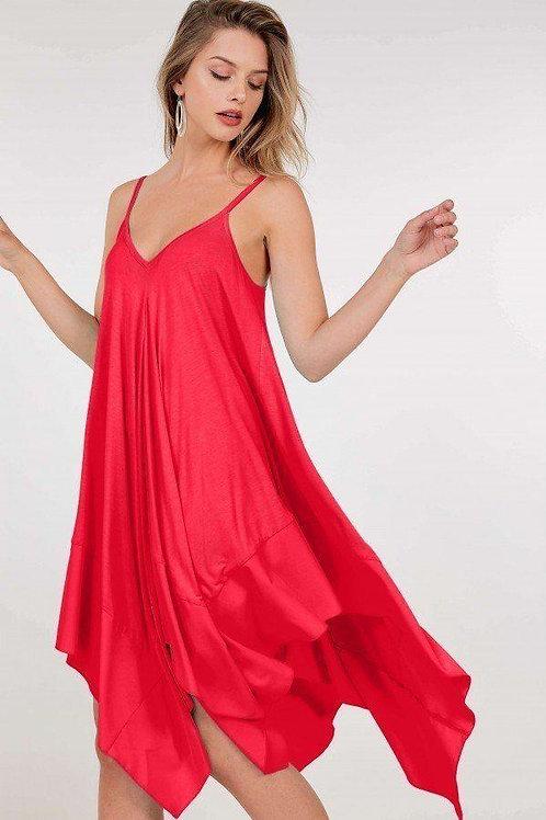 Asymmetrical Shoulder Strap Sleeveless Midi Dress