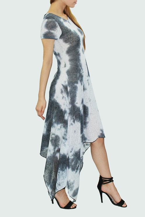 Short sleeve tie dye print dress Black