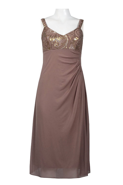 Alex Evenings V-Neckline Ruched Side Jersey and Mesh Dress with Sequin