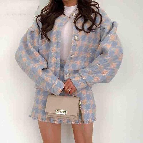 Long Sleeve Houndstooth Jacket Top Tweet Blazer And Mini A Line Skirts