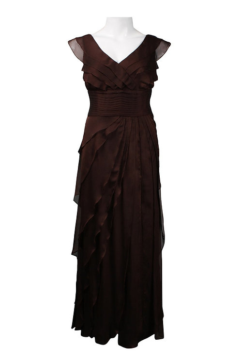 Adrianna Papell Cascading Tier Chiffon Gown (Plus Size)