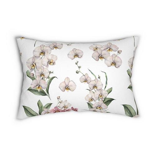 Orchid Pattern Spun Polyester Lumbar Pillow