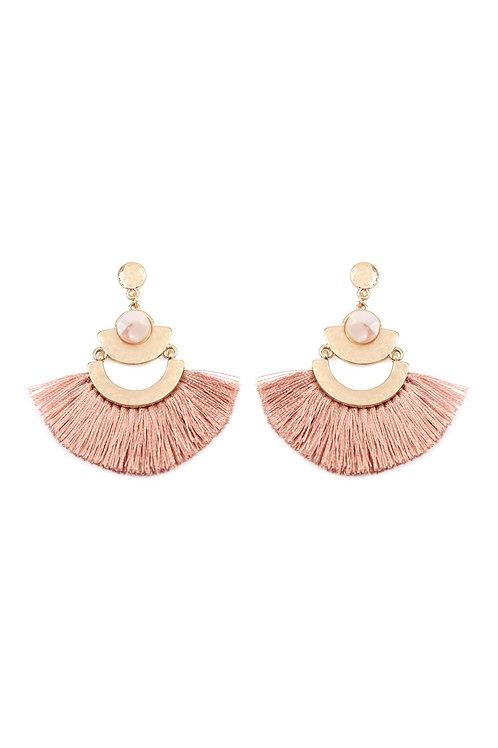 A8e2244 - Dangling Tassel Fan Drop Earrings