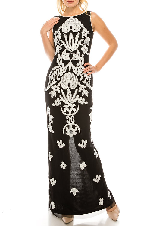 Adrianna Papell Black Ivory Beaded & Embroidered Mesh Evening Dress