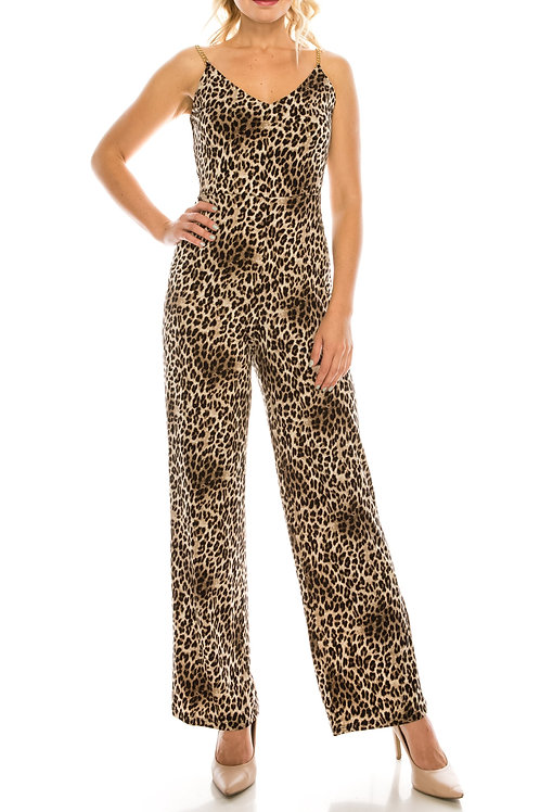 Bebe Leopard Printed Jumpsuit with Gold Chain Straps