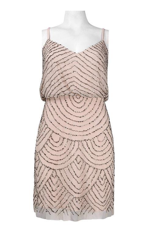 Adrianna Papell V-Neck Beaded Blouson Mesh Dress