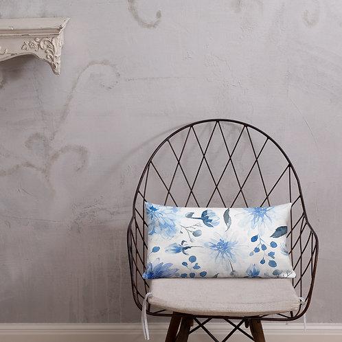Blue Blossoms Premium Pillow
