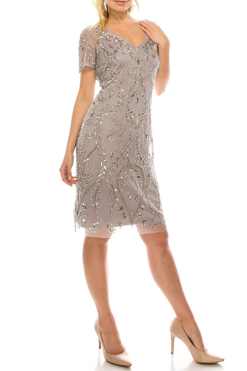 Adrianna Papell Lilac Grey Beaded Evening Sheath Dress