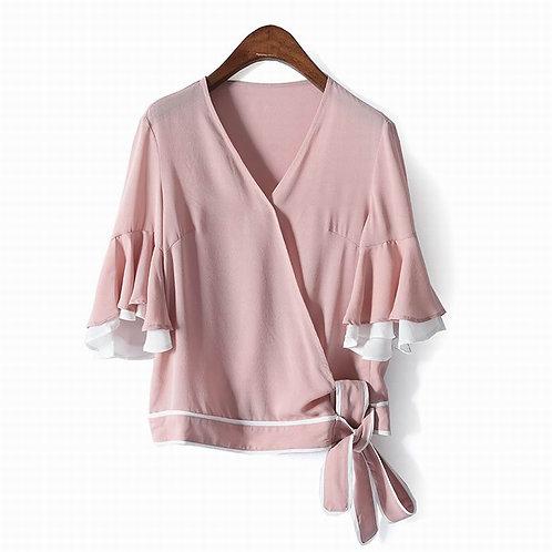 100%  Silk Flutter Sleeve Top