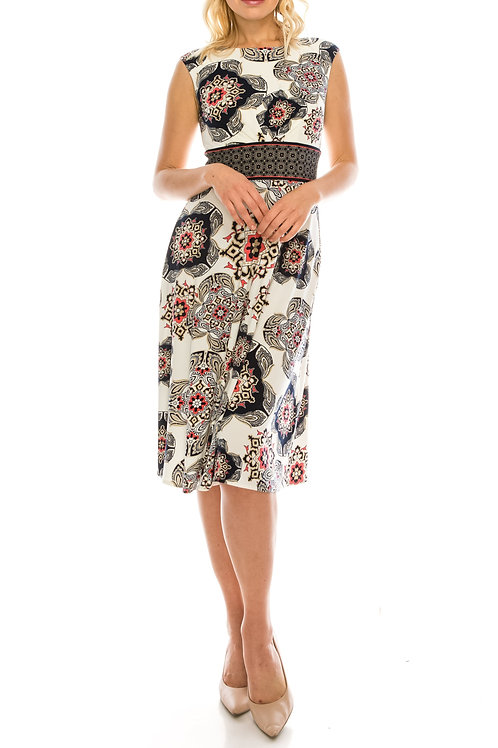 London Times White Navy Medallion Printed A-Line Dress SIZE: 4 ONLY