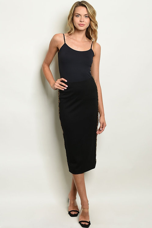 Black Leopard Print Skirt