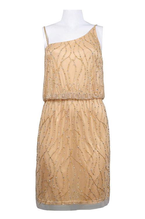 Adrianna Papell Asymmetrical Neckline Bead Pattern Mesh Blouson Short