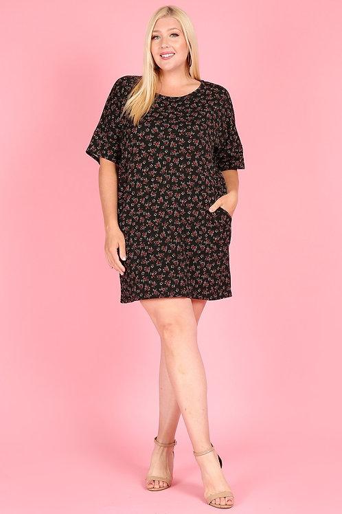 1240 Print short dress, round neck, pockets, short sleeves.
