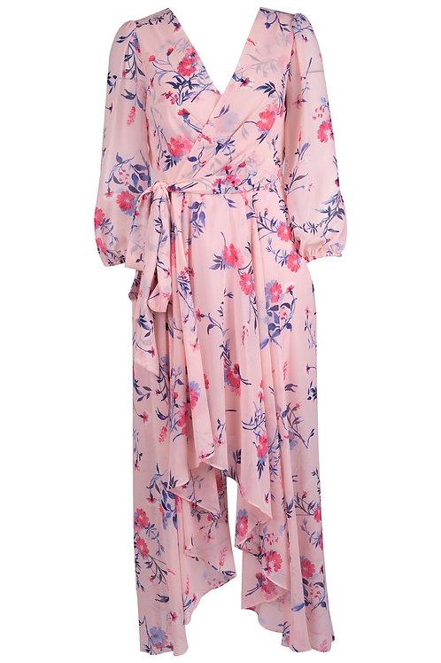 Eliza J Chiffon Floral Print Hi/Low Hem Maxi Dress