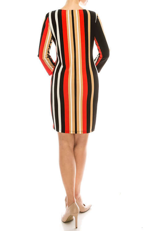 London Times Black Red Taupe Vertically Striped Shift Dress