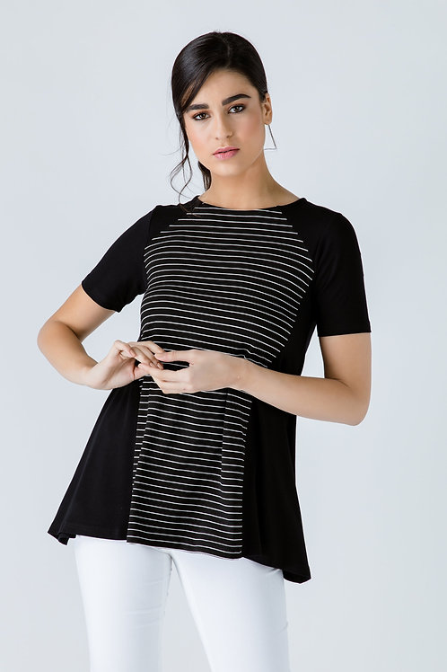 Black Short Sleeve Top with Stripe Detail