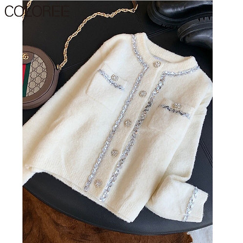 """Luxury Sequined  """"Diamond"""" Buttons White Cardigan"""