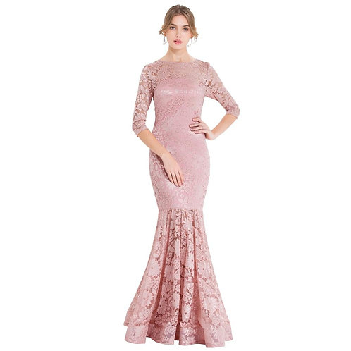 Women's Sheer 3/4 Sleeve Lace Evening Dresses Floral Mermaid Party