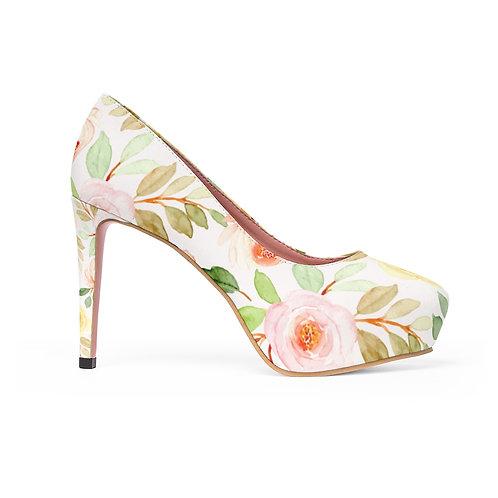 Floral Ivory Women's Platform Heels