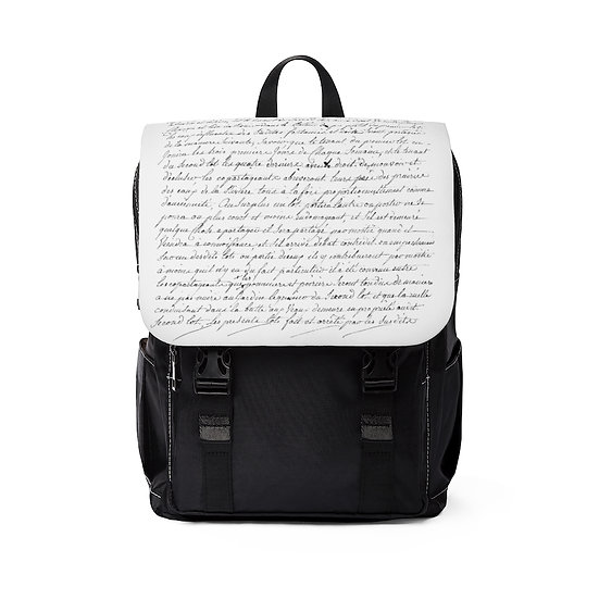 French Handwriting  Casual Shoulder Backpack