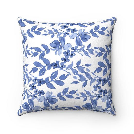 Blue Garden Faux Suede Square Pillow