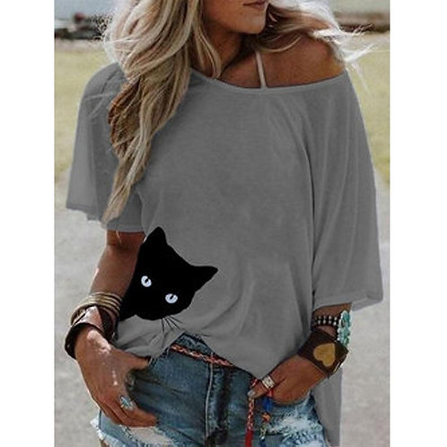 Cartoon Cat Short Sleeve T-shirt
