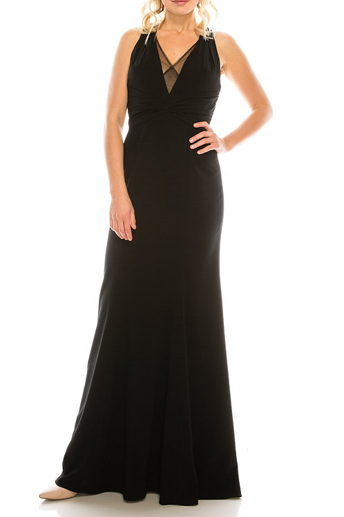 Adrianna Papell Black Halter Plunge Sheath Gown with Court Train