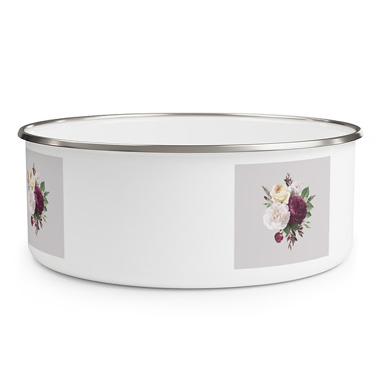 Old Fashioned Rose Bouquet Enamel Bowl