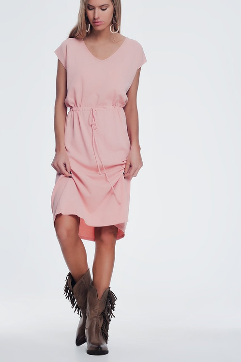 Pink Short Sleeved T Shirt Dress With Knotted Waist