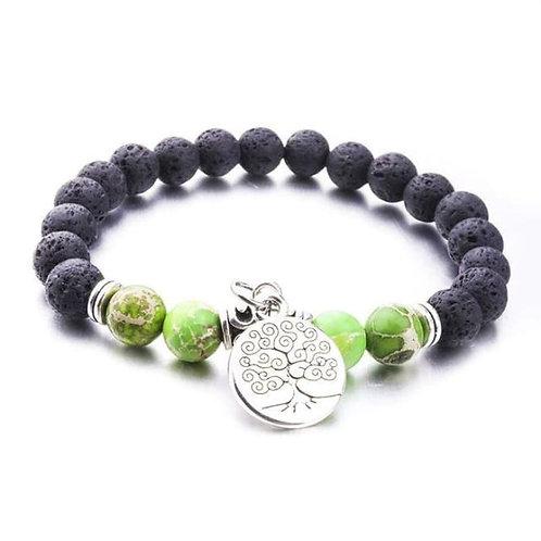 Green Marble Tree of Life Lava Stone Bracelet