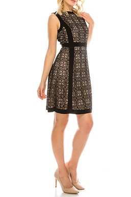 Adrianna Papell Crew Neck Banded Zipper Back Lace Jersey Dress