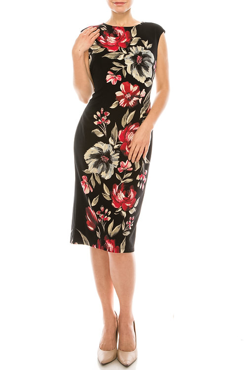 London Times Black Scarlet Painted Floral Printed Sheath Dress