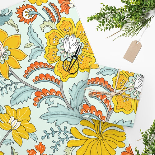 Charlotte's Garden (Yellow) on Teal Wrapping Paper