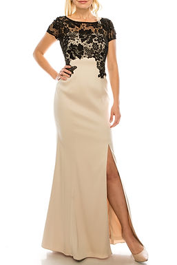 Adrianna Papell Champagne Black Lace Applique Sheath Evening Dress