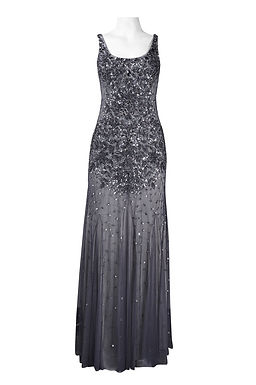Adrianna Papell Square Neck Bead and Sequin Flutter Hem Mesh Long