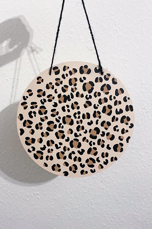 Leopard print wooden circle
