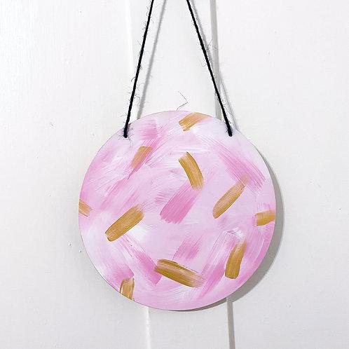Pink Abstract wooden circle