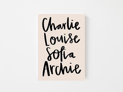 Family lettering print