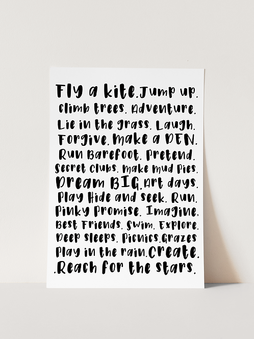 Childhood to do list - Print